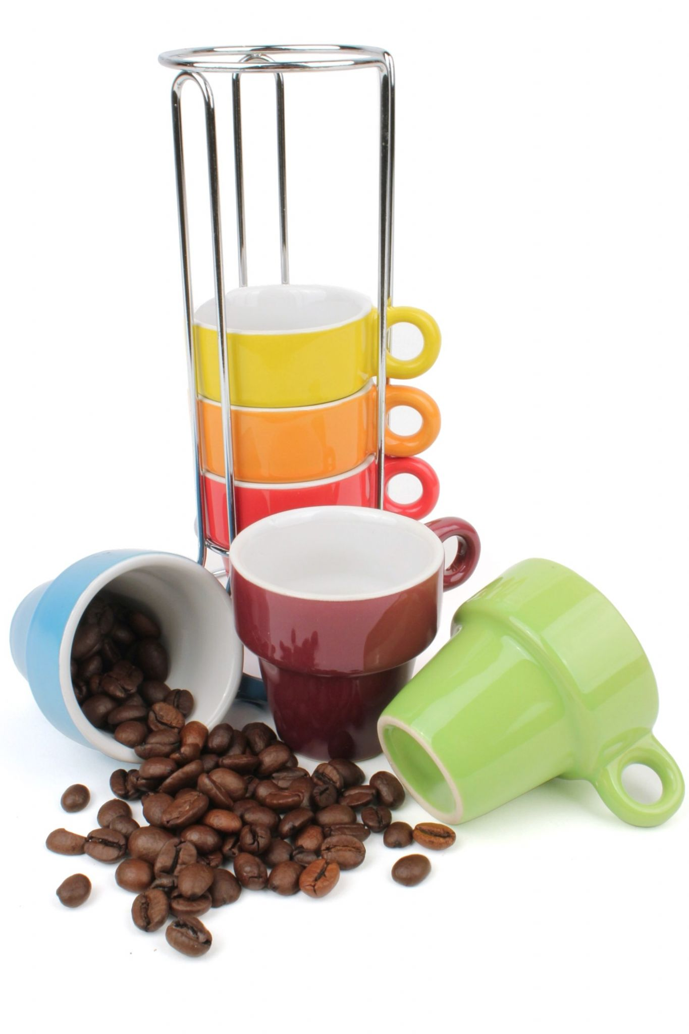 Coloured Ceramic Espresso Cup Tower Set Of 6 Coffee Cups